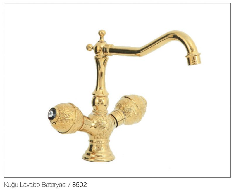 Fym Banyo Bathroom Accessories Batarya Serisi Victorian Ball Gold Series Kuğu Lavabo Bataryası 8502